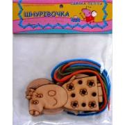 """Гра-шнурівка дерев'яна (За мотивами мультфільму """"Свинка Пеппа""""), Jum-3401-46"""