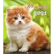 """Календар настінний перекидний - 2021 (24х22 см) """"Котики"""" KD21-MK-21U"""