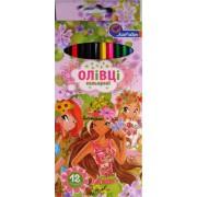 Карандаши цветные 12 цветов 7303Н-12 (Винкс, три девочки)