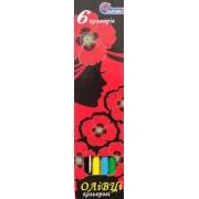 Карандаши цветные 6 цветов 7303NС-6 (Маки)