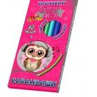 Карандаши цветные 12 цветов  пластиковые CUTE LITTLE OWL, 7426, KIDIS