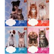 """Зошит шкільний 12 аркушів, клітинка - """"Бриск"""" (Коти,собаки) - 81174-04"""