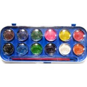 Фарби акварельні з блискітками (12 кольорів, пензлик) - 30227