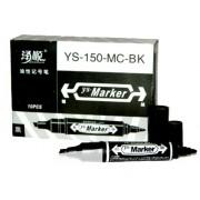 Маркер чорний двосторонній - YS-150-MC-BK (10 шт.)