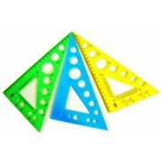 Трикутник 230 мм (кути 30х60х90, непрозорий, колір в асортименті) У-230ц