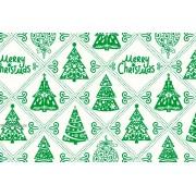 """Упаковочная бумага новогодняя (100х70 см) Эд-УБ-214 """"Зеленые елочки"""" 5 шт."""