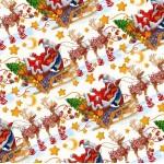 "Упаковочная бумага новогодняя (100х70 см) Эд-УБ-247 ""Санта Клаус на санях"" 5 шт."