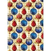 """Упаковочная бумага новогодняя (100х70 см) Эд-УБ-256 """"Красные и синие игрушки"""" 5 шт."""