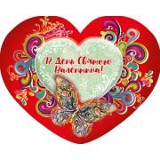 Валентинка одинарна з накладним елементом (текст російською мовою) - НС-305