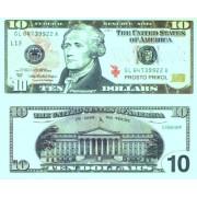 Денежная купюра сувенирная 10 Долларов (1 уп. = 80 шт.) - №15