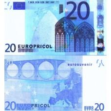 Денежная купюра сувенирная 20 Евро (1 уп. = 80 шт.) - №23
