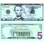 Денежная купюра сувенирная 5 Долларов (1 уп. = 80 шт.) - №17