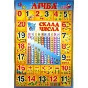 """Плакат А2 (картон) ЭУ-Лсч """"Лічба. Склад числа"""" (укр.)"""