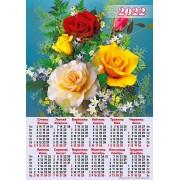 Календар-плакат, А2, на 2022 рік (Букет, троянди) - А2-01