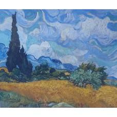 "Картина по номерах ""ПШЕНИЧНЕ ПОЛЕ І КИПАРИС"", 1*,40х50см, фарби пензлики (3шт), Josef Otten, RSB8202"