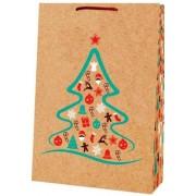 Пакет новорічний крафт - Радіка Лкф В4-10 (35х25х8,5 см)