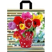 """Пакет подарочный полиэтиленовый с петлевой ручкой усиленный """"Тюльпаны"""", 375х425мм. ПП-1-52"""