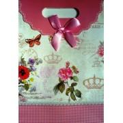 Пакет картонный с прорезной ручкой на липучке (26,8х19хх9 см) - Мандарин 1002-19