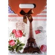 Пакет картонный с прорезной ручкой на липучке (26,8х19хх9 см) - Мандарин 1002-20