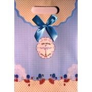 Пакет картонный с прорезной ручкой на липучке (26,8х19хх9 см) - Мандарин 1002-21