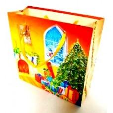 Пакет новогодний ламинированный (16х16х6 см) - Эдельвейс  П3-043