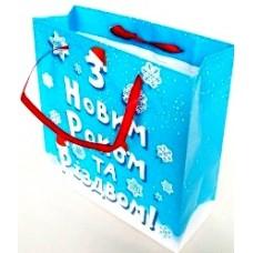 Пакет новогодний ламинированный (16х16х6 см) - Эдельвейс  П3-044