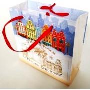Пакет новогодний ламинированный (16х16х6 см) - Эдельвейс  П3-045