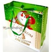 Пакет новогодний ламинированный (16х16х6 см) - Эдельвейс  П3-046