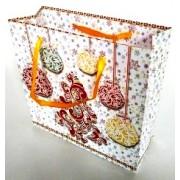 Пакет новогодний ламинированный (16х16х6 см) - Эдельвейс  П3-048