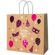 Пакет подарунковий новорічний (темний крафт) - Радіка РК-В4-21 (30х27,5х12 см)