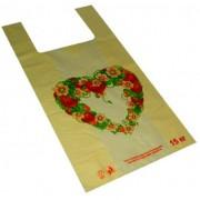 """Пакет-майка полиэтиленовый """"Сердце"""", оранжевый, 30х53 см, ПМ-06 (100 шт.)"""