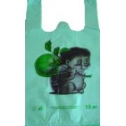 """Пакет-майка полиэтиленовый """"Ёжик"""", зеленый, 30х53 см, ПМ-07 (100 шт.)"""
