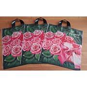 """Пакет подарочный полиэтиленовый с петлевой ручкой """"Розовые розы"""", 375х425мм. ПП-1-25"""