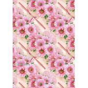"""Упаковочная бумага  (100х70 см) Эд-УБ-300 """"Розовые цветы"""" 5 шт."""