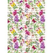 """Упаковочная бумага  (100х70 см) Эд-УБ-303 """"Цветы, бабочки"""" 5 шт."""