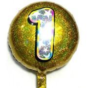 """Повітряна куля фольгована 45х45 см, """"Цифра 1"""" (1 шт.) 3D лазер-№32"""