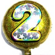 """Повітряна куля фольгована 45х45 см, """"Цифра 2"""" (1 шт.) 3D лазер-№33"""