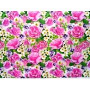 """Упаковочная бумага (100х70 см) Эд-УБ-053 """"Розовые розы, фиалки"""" 5 шт."""