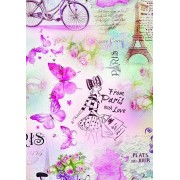 "Упаковочная бумага (100х70 см) Эд-УБ-221 ""Париж, бабочки"" 5 шт."
