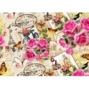 "Упаковочная бумага (100х70 см) Эд-УБ-222 ""Париж, розы"" 5 шт."