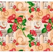 "Упаковочная бумага (100х70 см) Эд-УБ-229 ""Франция, розы"" 5 шт."