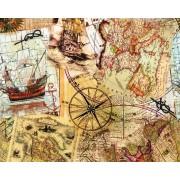 """Упаковочная бумага (100х70 см) Эд-УБ-233 """"Карты, парусники"""" 5 шт."""