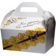 """Коробка свадебная """"Для дорогих гостей!"""" КС-17 (белая с золотым узором, глиттер)"""