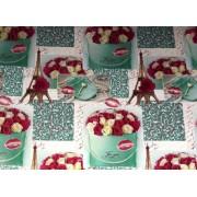 "Упаковочная бумага (100х70 см) Эд-УБ-349 ""Розы, Эйфелева Башня"" 5 шт."