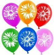 """Воздушный шар пастель с рисунком """"Цветы"""" 15""""/38см (ассорти 10 шт.) №31"""