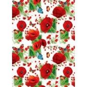 "Упаковочная бумага (100х70 см) Эд-УБ-041 ""Маки, бабочки"" 5 шт."
