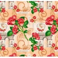 """Упаковочная бумага крафт темный (100х70 см) Эд-УБ-229-КРТ """"Франция, розы"""" 5 шт."""
