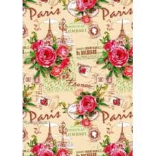 "Упаковочная бумага (100х70 см) Эд-УБ-293 ""Париж, розы"" 5 шт."