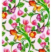 """Упаковочная бумага (100х70 см) Эд-УБ-295 """"Цветы, бабочки"""" 5 шт."""
