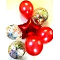 Воздушные шары (1 звезда красная, 3 шара красные d=30 см, 3 шара с рисунком с наполнителем из цветных конфетти)